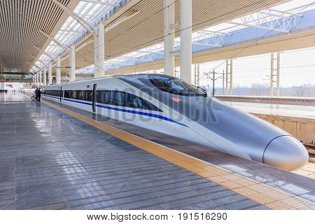 LUOYANG, CHINA - JANUARY 12, 2014: Luoyang Longmen Railway Station for high-speed trains on January 12, 2014 in Tianjin. Hexiehao is a bullet train of CRH (China Railway High-speed ).