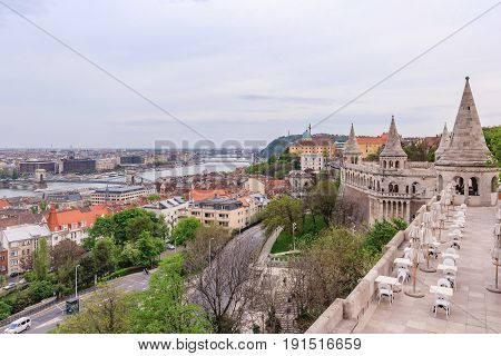 Panoramic view of city Budapest with Danube river from Fisherman's Bastion - the capital of Hungary