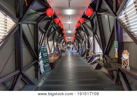 HOUTONG, TAIWAN - APRIL 30, 2017: Houtong Station is a railway station on the Taiwan Railway Administration (TRA) Yilan Line located in Ruifang District New Taipei Taiwan.