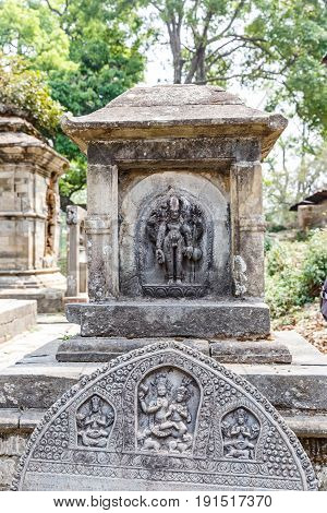 Hindu deities carved in stone in Pashupatinath sanctuary