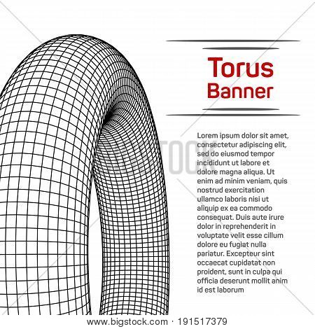 Abstract wireframe torus donut banner brochure. Vector technology background. Connection design template.