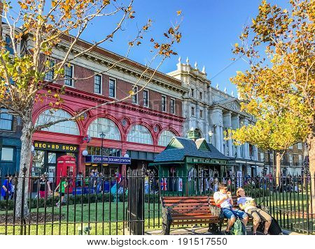 ORLANDO, USA - JANUARY 05, 2017: San Francisco architecture of Universal Studios Orlando. Universal Studios Orlando is a theme park resort in Orlando Florida.