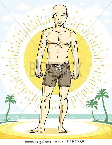Handsome bald man standing on tropical beach and wearing beachwear shorts. Vector human illustration. Summer vacation theme.
