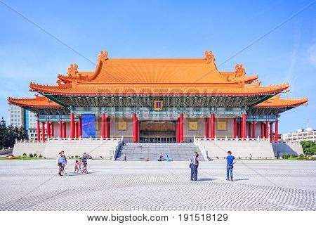 TAIPEI, TAIWAN - APRIL 29, 2017: National Concert Hall of Taiwan by the main gate on the left at National Taiwan Democracy Square of Chiang Kai-Shek Memorial Hall