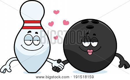 Cartoon Bowling Ball And Pin Holding Hands
