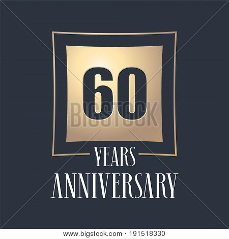60 years anniversary celebration vector icon logo. Template design element with golden number for 60th anniversary greeting card