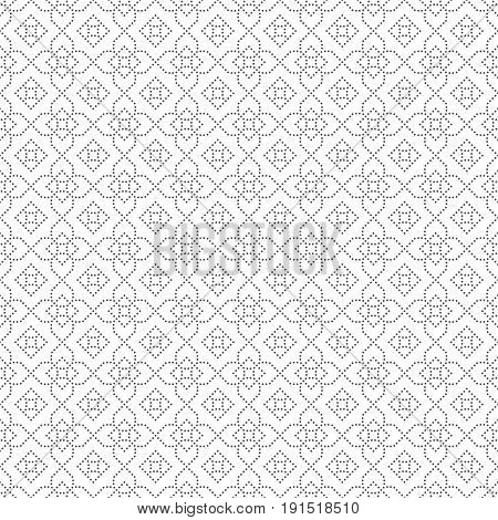Seamless pattern. Modern stylish small dotted texture. Regularly repeating geometric tiles with dotted rhombuses diamonds crosses. Vector abstract background