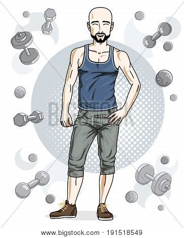 Handsome bald young man with beard and mustaches is standing on simple background with dumbbells and barbells. Vector illustration of sportsman. Active and healthy lifestyle theme cartoon.