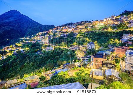 Jiufen village a mountain village in Taipei which is famous for teahouses in Taipei Taiwan