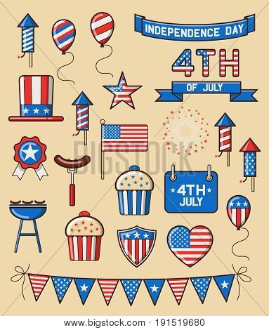 Set of design elements for american independence day forth of july. EPS 10 contains transparency.