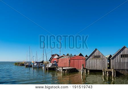 Boathouses in the port of Ahrenshoop Germany.