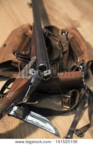 Double-barreled Shotgun, Big Hunting Knife And Ammunition Belt
