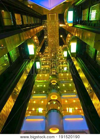 Barcelona, Spain - September 06, 2015: The details of interior of cruise ship Allure of the Seas by Royal Caribbean International. The interior near the elevator inside the ship