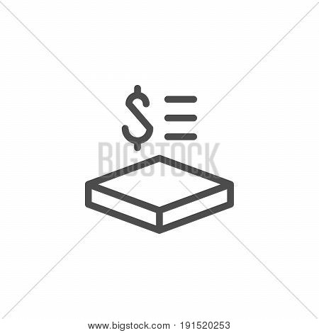 Price per square meter line icon isolated on white. Vector illustration