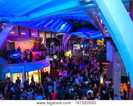 Barcelona, Spain - September 07, 2015: The Captain's reception at cruise ship Allure of the Seas by Royal Caribbean International. People gathered for the ceremony