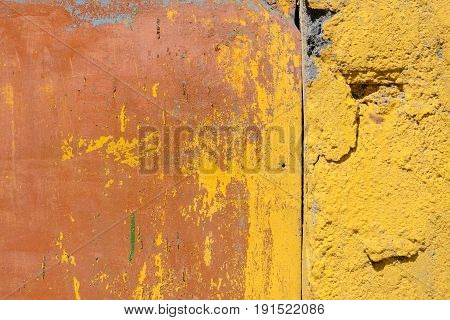 Background wood concrete and metal texture. Grunge background