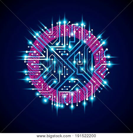 Vector abstract luminescent technology illustration round blue neon circuit board with sparkles. High tech circular digital scheme of electronic device.