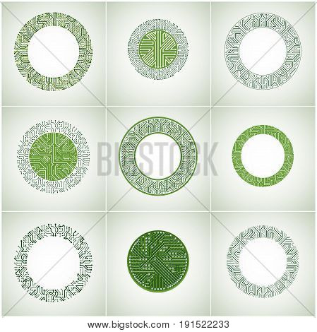Collection of futuristic cybernetic schemes vector motherboards. Circular elements with circuit board texture.