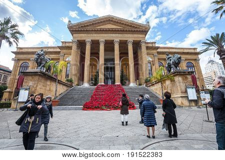 PALERMO, ITALY. December 30, 2016: The Teatro (Theater) Massimo Vittorio Emanuele is an opera house and opera company located on the Piazza Verdi in Palermo, Sicily. Italy. Theater opera.