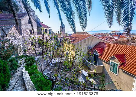 Marble view on small dalmatian town Omis, famous summer resort in Croatia, Europe.