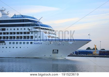 Velsen The Netherlands - June 15th 2017: Nautica - Oceania Cruises on North Sea Channel towards Amsterdam Cruise terminal