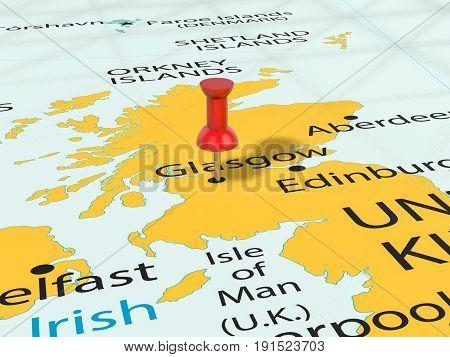 Pushpin On Glasgow Map 3D Illustration