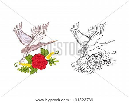 Flowers and crane. Set of colored sample and outline drawing.  Outline hand drawing coloring page for adult coloring book. Stock line vector illustration.