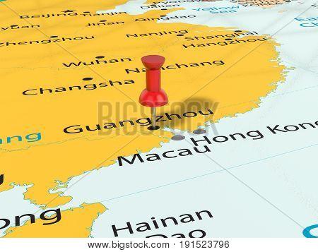 Pushpin On Guangzhou Map 3D Illustration