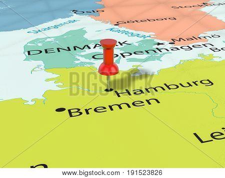 Pushpin On Hamburg Map 3D Illustration