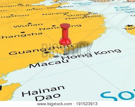 Pushpin On Hong Kong Map 3D Illustration
