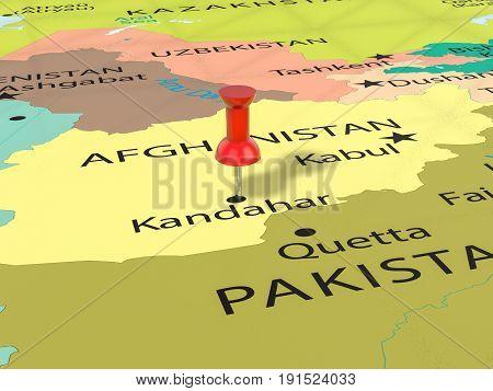 Pushpin On Kandahar Map 3D Illustration
