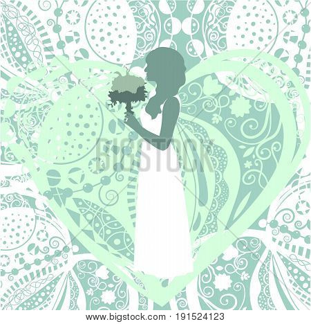 White lace background with a bride silhouette on a green background