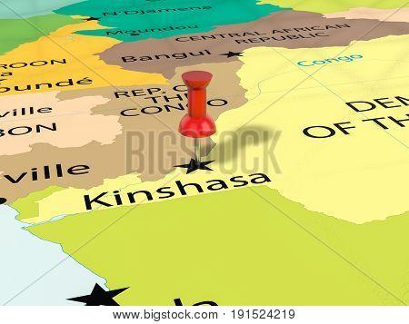 Pushpin On Kinshasa Map 3D Illustration