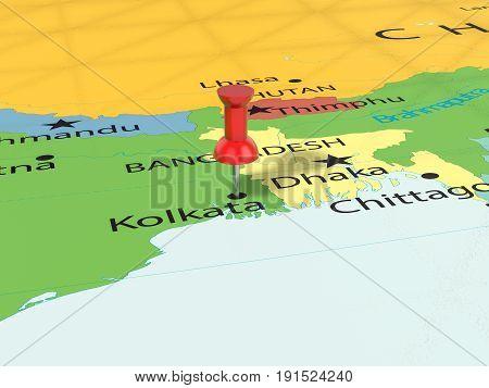 Pushpin On Kolkata Map 3D Illustration