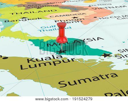 Pushpin On Kuala Lumpur Map 3D Illustration