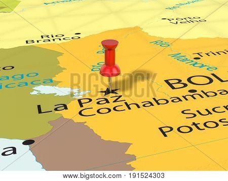 Pushpin On La Paz Map 3D Illustration