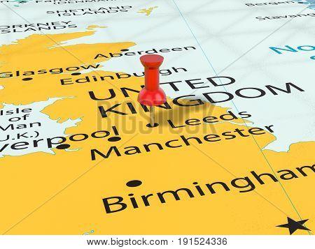 Pushpin On Leeds Map 3D Illustration