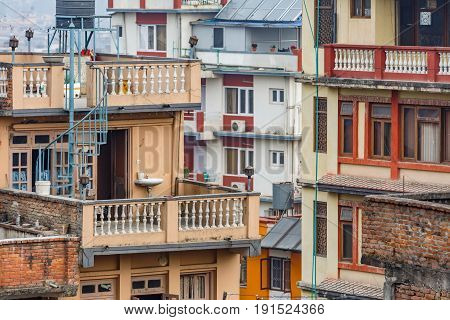 Close up photo of storey houses in Kathmandu