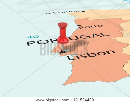 Pushpin On Lisbon Map 3D Illustration