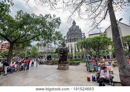 Medellin, Colombia- March 5, 2017: Statues in front of Botero Museum Colombia