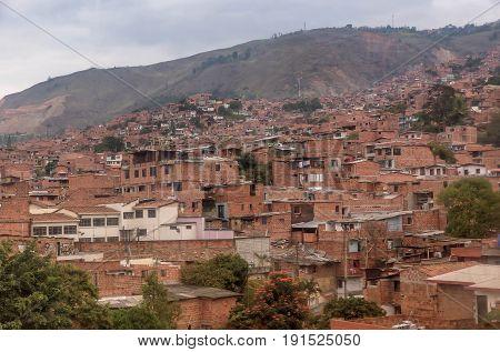 Slums in the city of Medellin Colombia