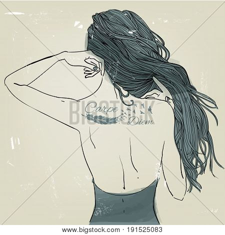 young beautiful woman with tattoo on her back