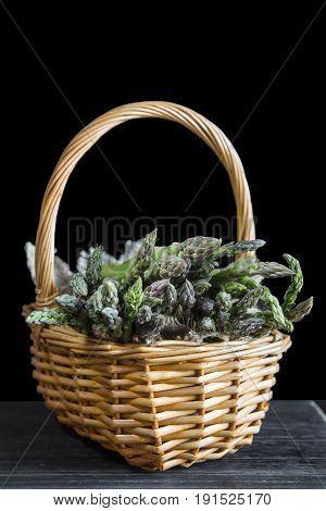 Basket Wirh Wild Green Asparagus