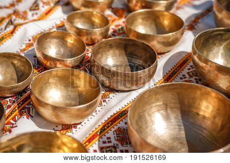 Singing Bowls - Cup of life - popular mass product souvenier in Nepal Tibet and India- Staying on ethnic traditional ornament cotton
