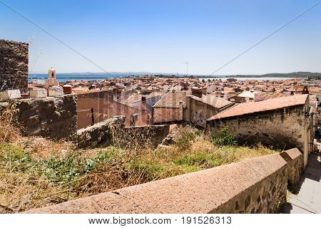 Carloforte Italy - August 23 2016: View of Carloforte place famous for the salt pans and tuna processing. San Pietro Island Sardinia Italy.