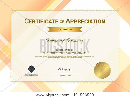 Modern certificate of appreciation template with modern colorful pattern in vector illustration