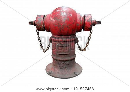 Old red fire hydrant with chain Isolated on white background.