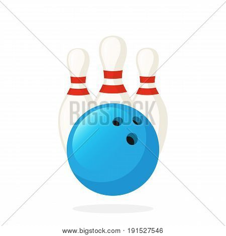 Vector illustration in flat style. Bowling ball and pins. Sports equipment. Decoration for greeting cards, prints for clothes, posters, wallpapers