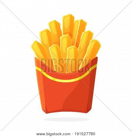Vector illustration in cartoon style. French fries in a paper red pack. Unhealthy food. Decoration for patches, prints for clothes, badges, posters, emblems, menus