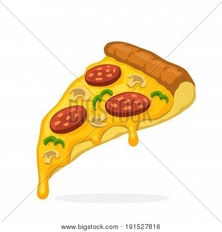 Vector illustration in cartoon style. Pizza slice with melted cheese pepperoni and mushrooms. Unhealthy food. Decoration for patches, prints for clothes, badges, posters, emblems, menus